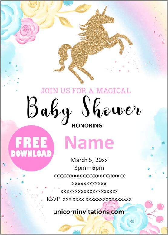 unicorn baby shower printable Invitation