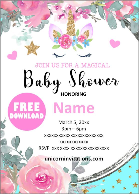 Unicorn baby shower invitation