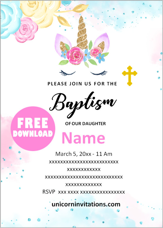 Unicorn Baptism Invitation