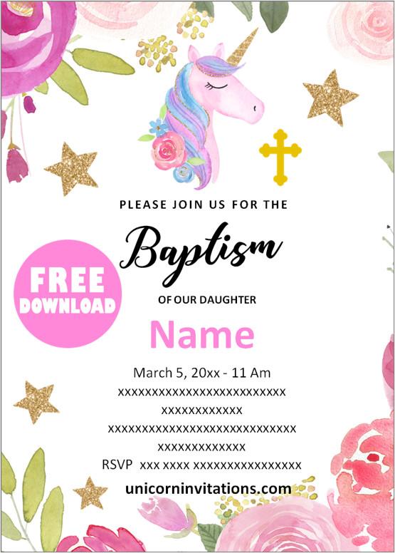 Free Unicorn Baptism Invitation