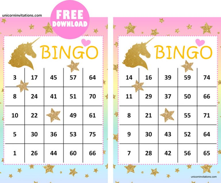 Printable Unicorn Bingo game