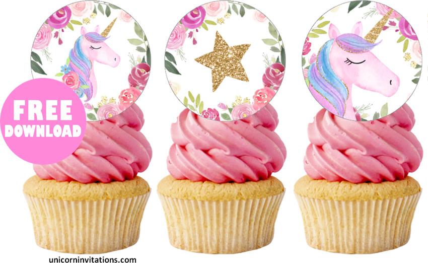 Free Printable Unicorn Cupcake Toppers Template
