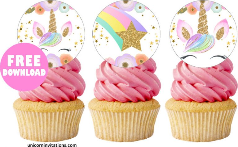 Printable Unicorn Cupcake toppers