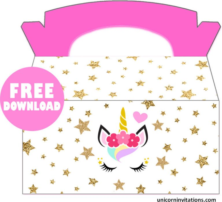 Free printable Unicorn party Box