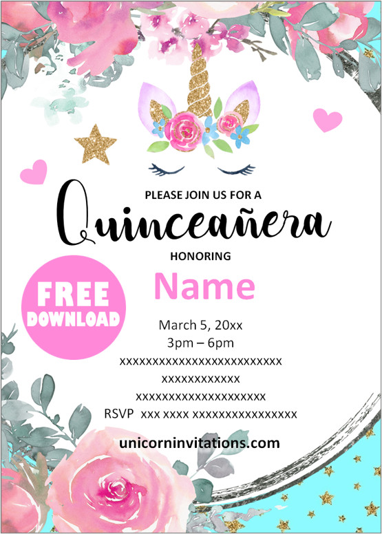 Unicorn Quinceanera invitations