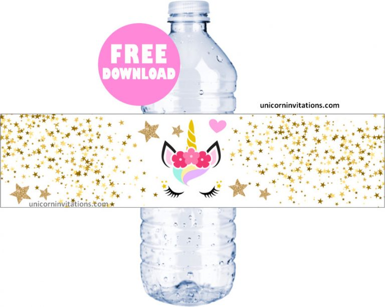 Unicorn Water Bottle Labels
