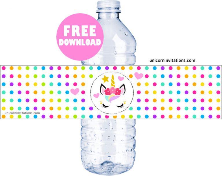 Free Unicorn Water Bottle Labels